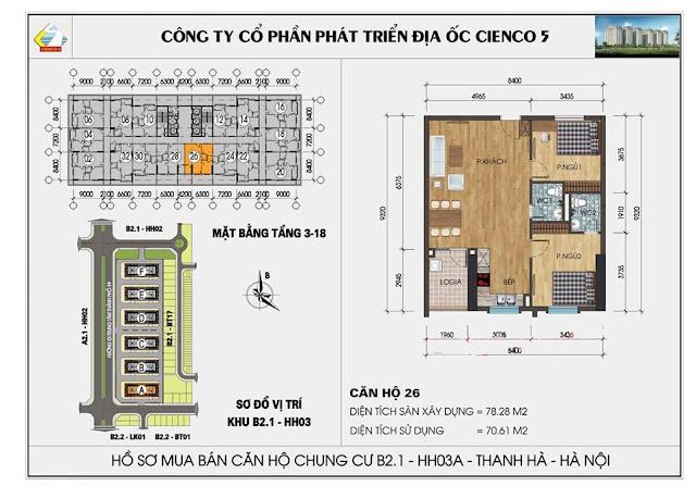 Sơ đồ thiết kế chi tiết căn hộ 26 chung cư B2.1 HH03 Thanh Hà