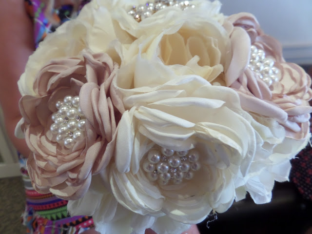 silk and pearl bridal bouquet