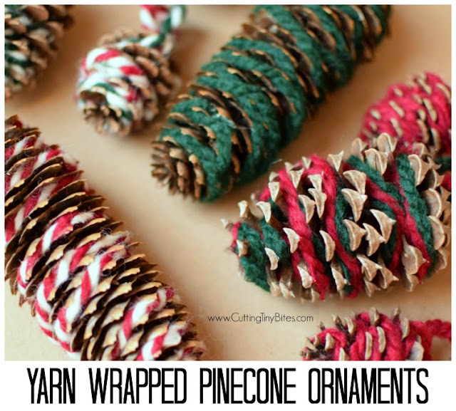 Yarn Wrapped Pinecone Ornaments- beautiful nature ornament craft for Christmas. Kids can work on fine motor work while they work on this fun activity, great for preschoolers, kindergartners, or elementary students.