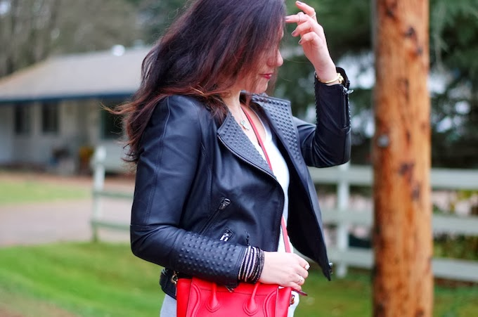 Zara studded leather jacket and Celine Nano