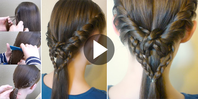 Learn - How To Create 2 Easy Heart Knot Ponytails, See Tutorial