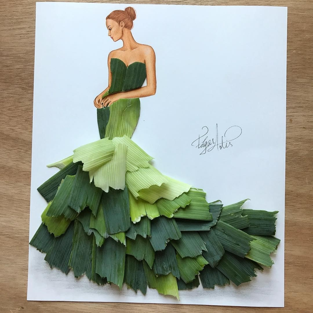 05-Lady-Leek-Edgar-Artis-Multimedia-Drawings-and-Food-Art-Dresses-www-designstack-co