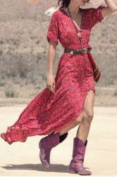 vestido bohemio de color rojo