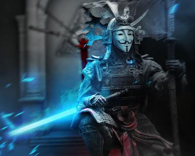 Samurai con mascara de anonymous y espada láser