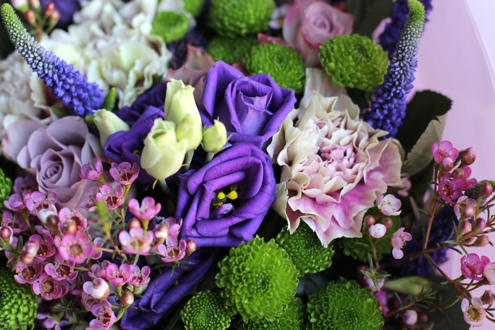 Pink, purple and green spring flowers bouquet - British lifestyle blogger