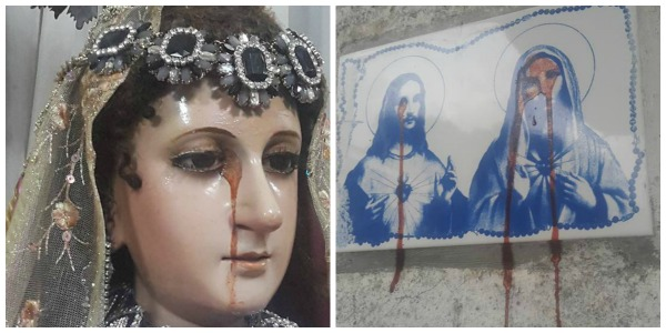 Image of Jesus, Mary reportedly weep tears of blood in Cebu