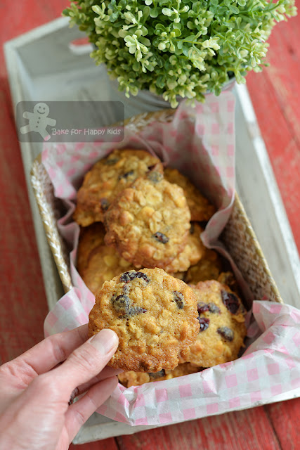 white chocolate cranberry oatmeal crispy chewy cookies