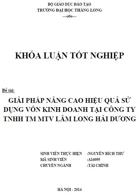 Giải pháp nâng cao hiệu quả sử dụng vốn kinh doanh tại Công ty TNHH thương mại một thành viên Lâm Long Hải Dương
