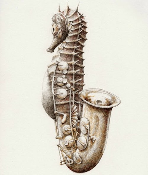 09-Saxophone-Saxo-Seahorse-Redmer-Hoekstra-Surreal-Animals-Ink-Drawings-www-designstack-co