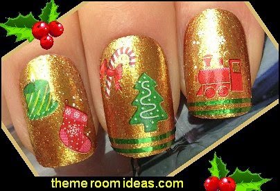 christmas tree candle stocking Nail art water decals transfers stickers