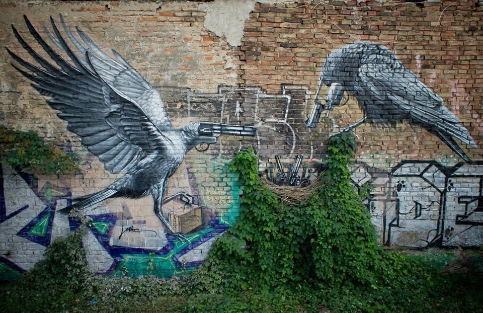 """Lonac recently painted a strong new piece titled """"Nest"""", somewhere on the streets of his home town of Zagreb. Other than showing great skills and creativity, the artist once again proved his ability to tackle a strong subject with a witty image."""