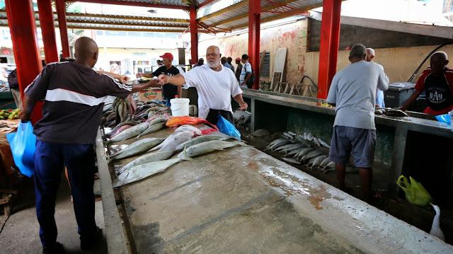 Fischmarkt Victoria mit Madanm Paton (Fischreiher) (C) JUREBU