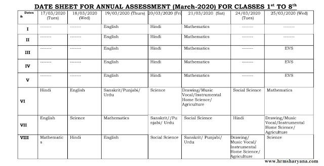 bseh date sheet, hrms haryana, haryana board date sheet