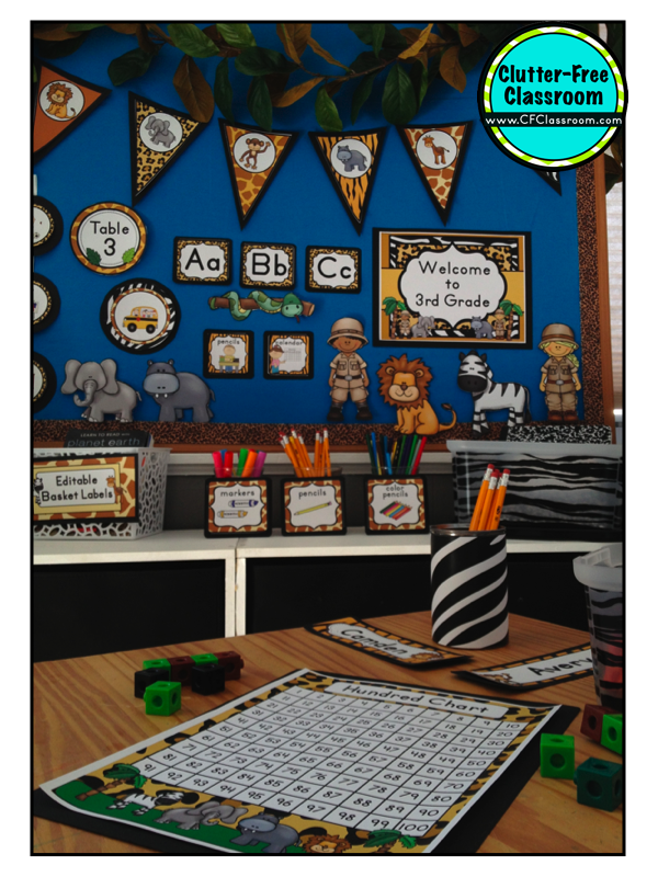 Classroom Ideas Theme ~ Jungle safari themed classrooms clutter free classroom