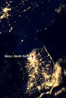 Korea nightview from space - South and North Korean border
