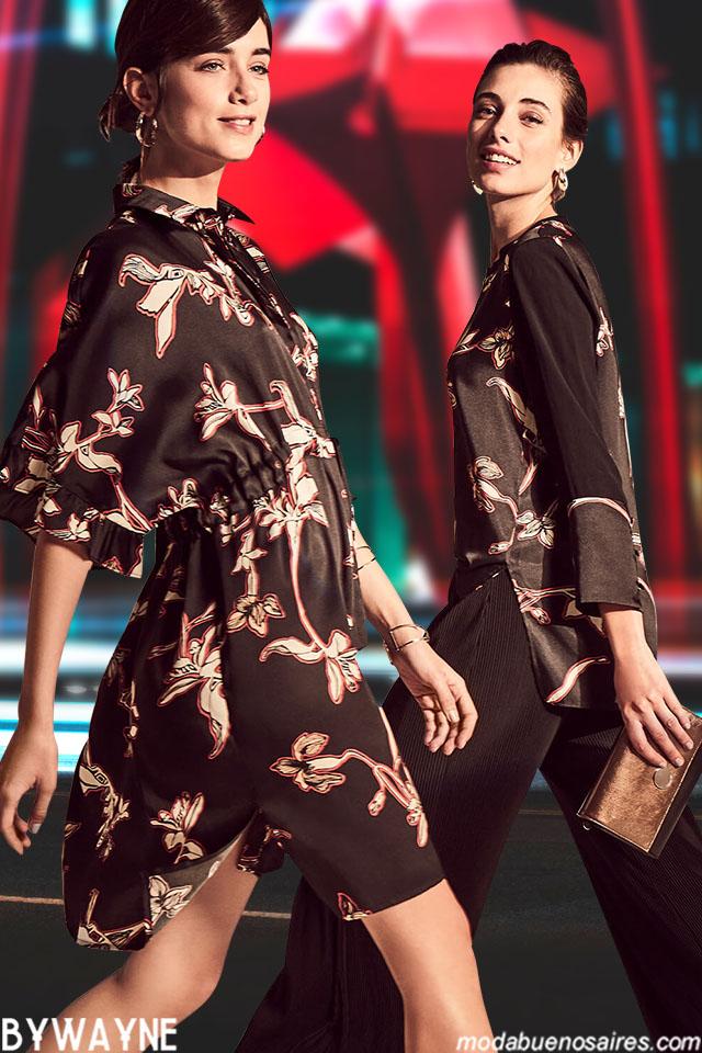 Moda invierno 2019 camisas y vestidos. Looks de noche moda invierno 2019 argentina.