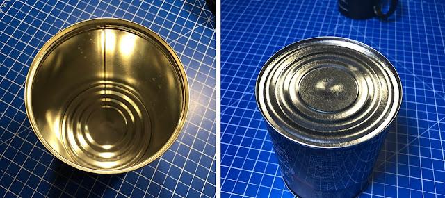 Der Verstärker wird in eine handelsübliche Blech-Kaffedose eingebaut