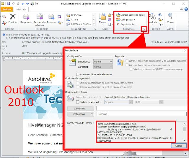 Encabezado de Internet Microsoft Outlook 2010