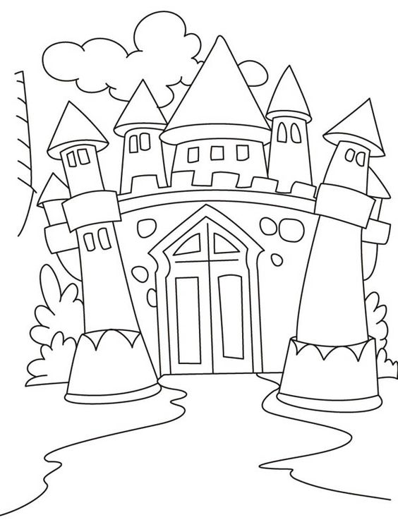 Tranh cho bé tô màu lâu đài 7