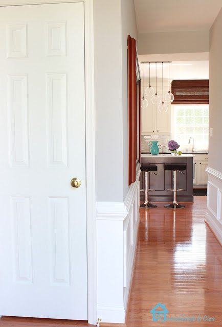 kitchen in the far with closet door closed