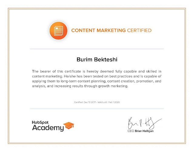 Online course for Content Marketing by Hubspot Academy- Burim Bekteshi