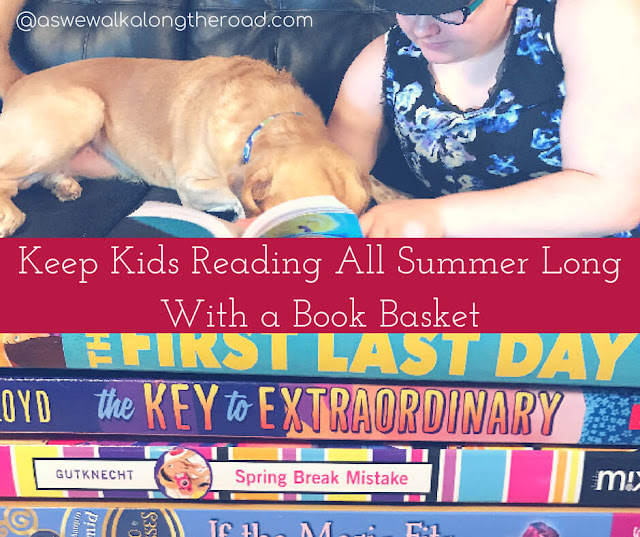 Using a book basket for summer reading for kids