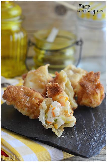 Wontons de surimi y queso