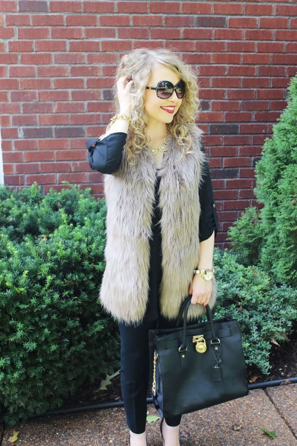 Chicwish Mid-Length Faux Fur Vest, Fashion blog for young professionals