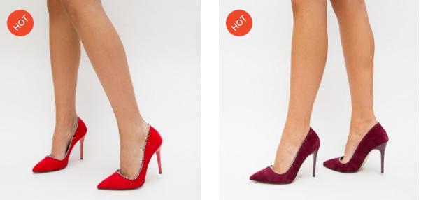 Pantofi negri, rosii din piele eco cu toc inalt eleganti si ieftini