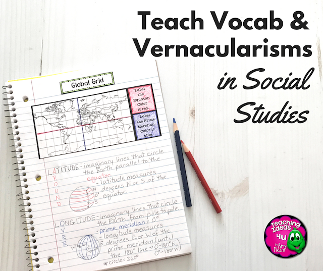 Teach Vocab and Vernacularisms in Social Studies