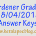 Kerala PSC Gardener Grade 3 Exam 28-04-2018 Answer Keys
