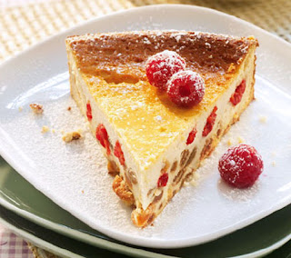 Ricotta cheesecake with honey and raspberries recipe