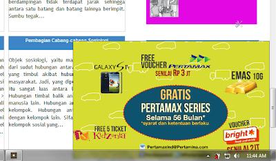 Tampilan iklan popup kanan bawah dari platform Ambientindonesia pada web Plengdut.com