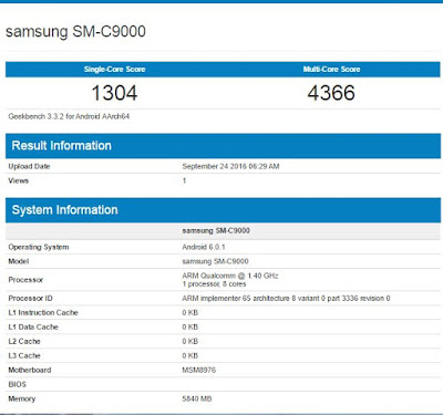 Samsung Galaxy C9 SM-C9000 Geekbench