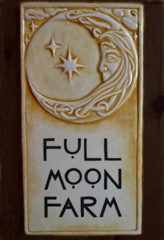 8 X 16 Custom Relief Carved Ceramic Sign Featuring Our 8x8 Moon Woman Tile
