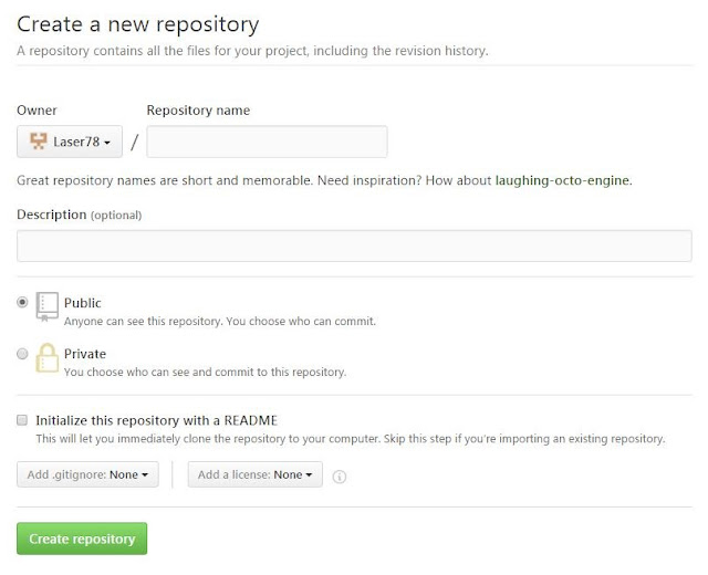 Datos para crear un repositorio