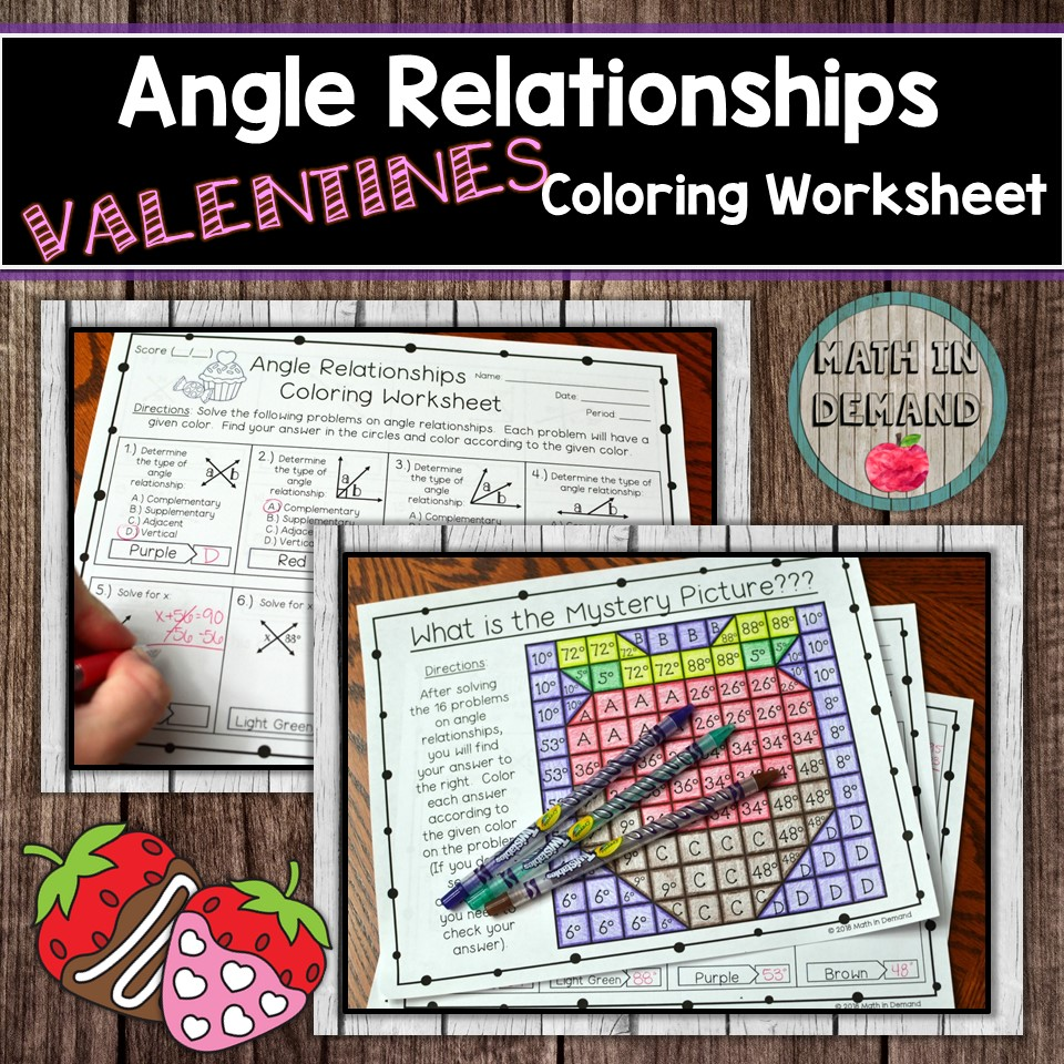 hight resolution of Angle Relationships Coloring Worksheet