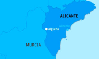 Terremoto en Alicante. En el mapa puede apreciarse el epicentro del seismo (localidad de Algueña)