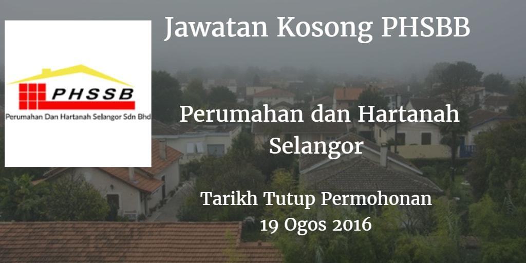 Jawatan Kosong PHSBB 19 Ogos 2016