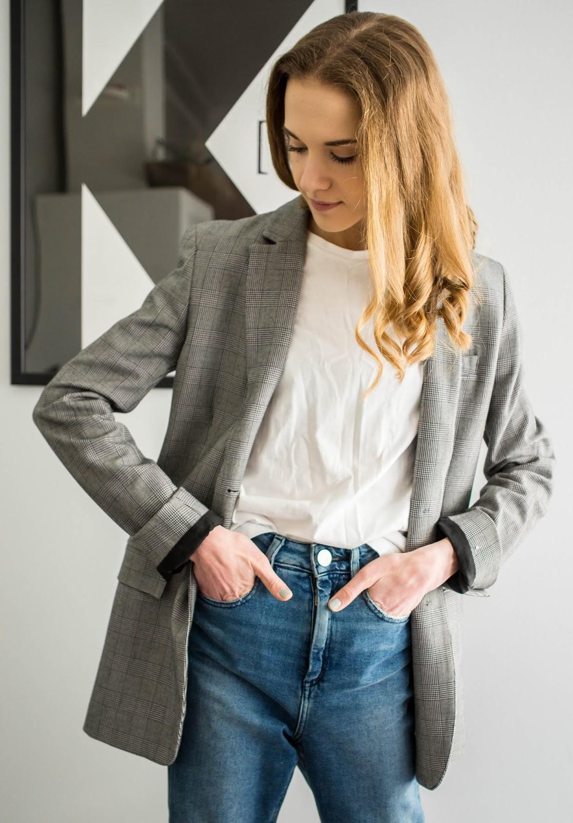 Grey check blazer - Harmaa ruutubleiseri