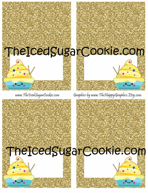 Cupcake Birthday Party Food Label Tent Cards-Gold Glitter Cutout Printable Template DIY-Banana Cupcakes, Lemon Cupcakes, Yummy Cupcakes, Cupcake Shoppe The Iced Sugar Cookie