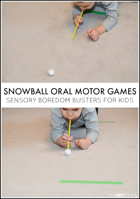 Snowball oral motor games - sensory boredom busters for kids from And Next Comes L