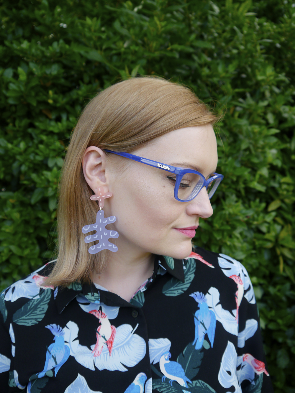 Blue Max and Co. from Specsavers glasses paired with Julia de Klerk earrings