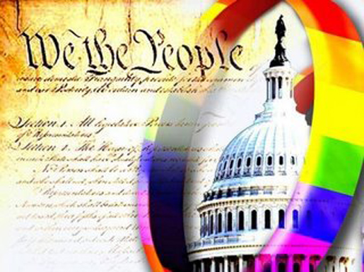 Pic of the constitution and a gay rainbow ring