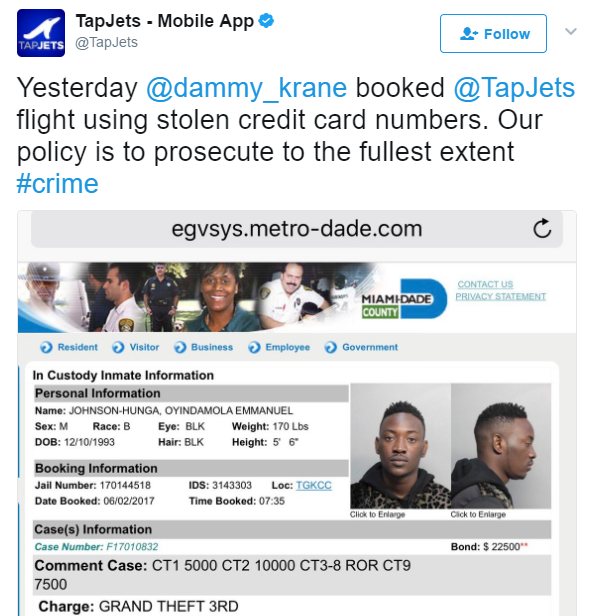 2 - We will prosecute Dammy Krane to the fullest extent - Private Jet company