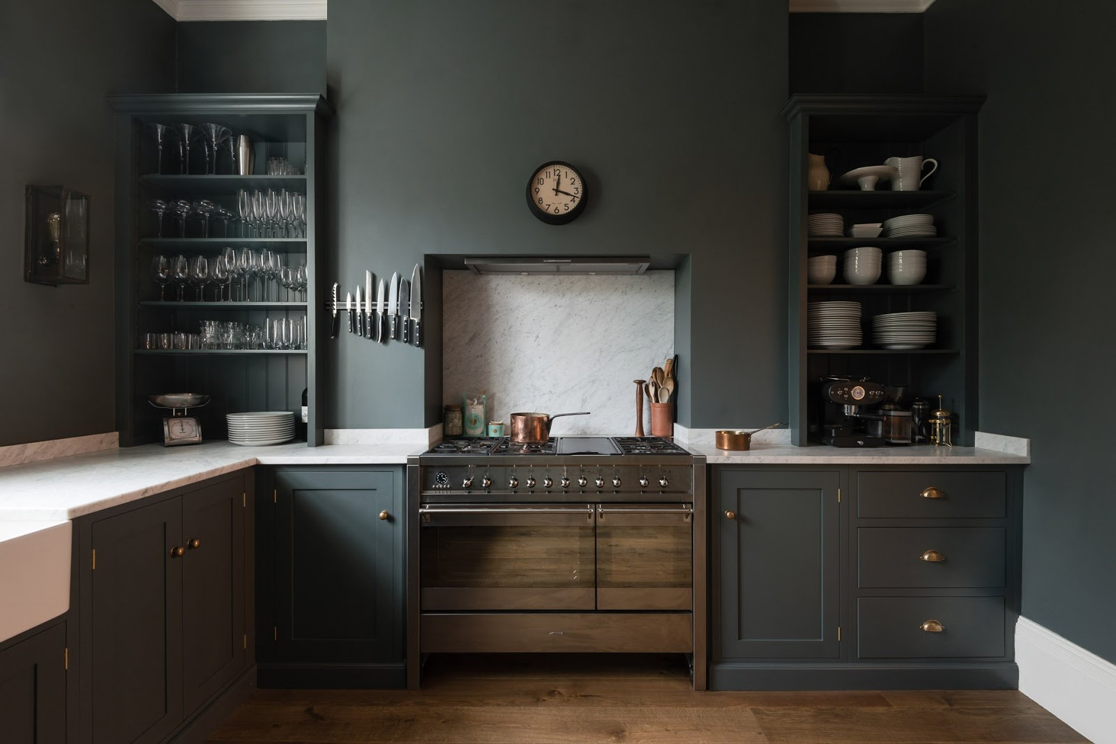 Dark Blue Grey Cabinets And Walls In A Luxurious Classic London Kitchen    Found On ...