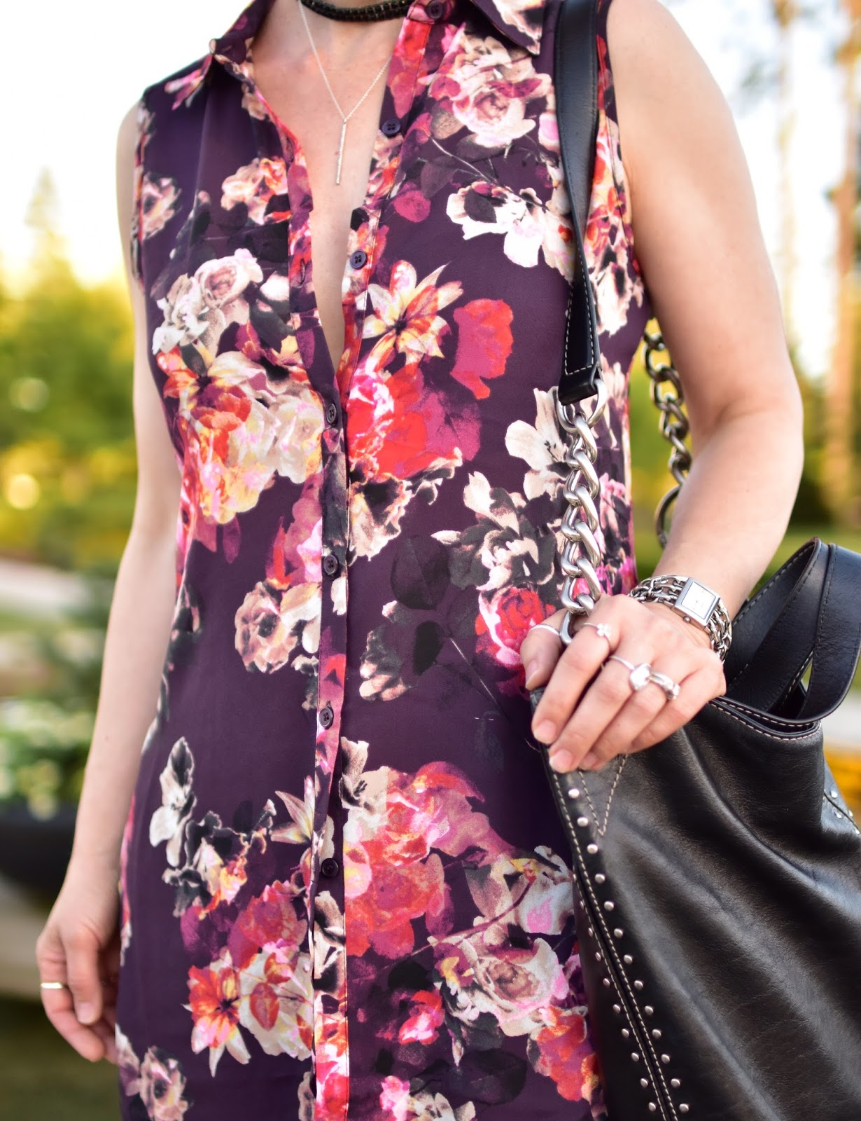 floral tunic-style blouse, Michael Kors bag