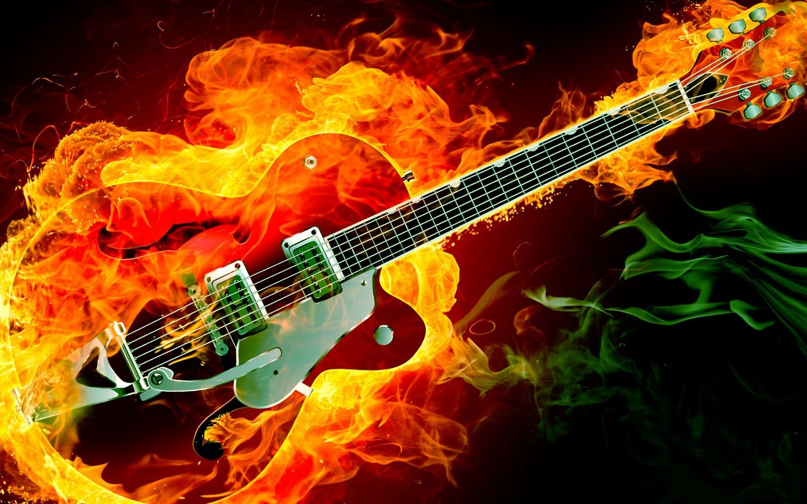 great guitar sound electric rockabilly guitar on fire red green smoke flames hd music desktop. Black Bedroom Furniture Sets. Home Design Ideas