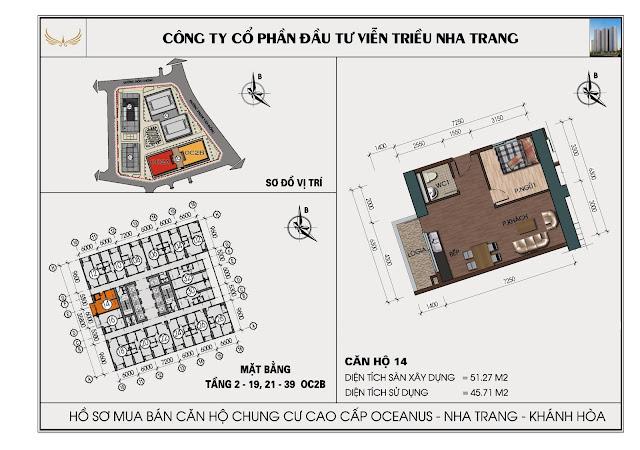 Sơ đồ căn hộ số 14 tòa OC2BViễn Triều Nha Trang