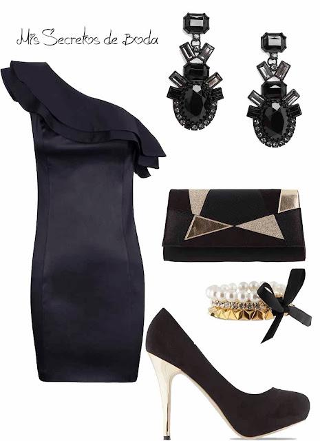 Vestido negro y complementos dorados. look nochevieja.